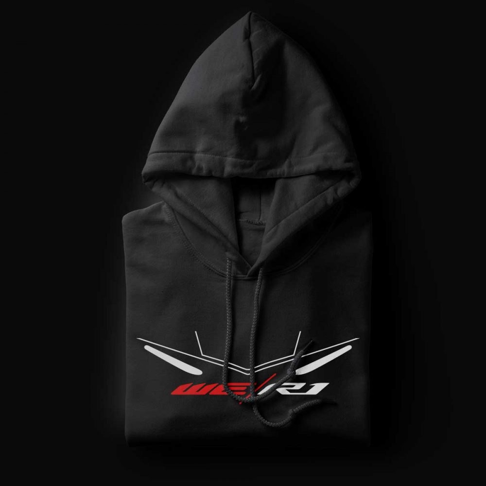 We R1 Black Motorcycle Hoodie